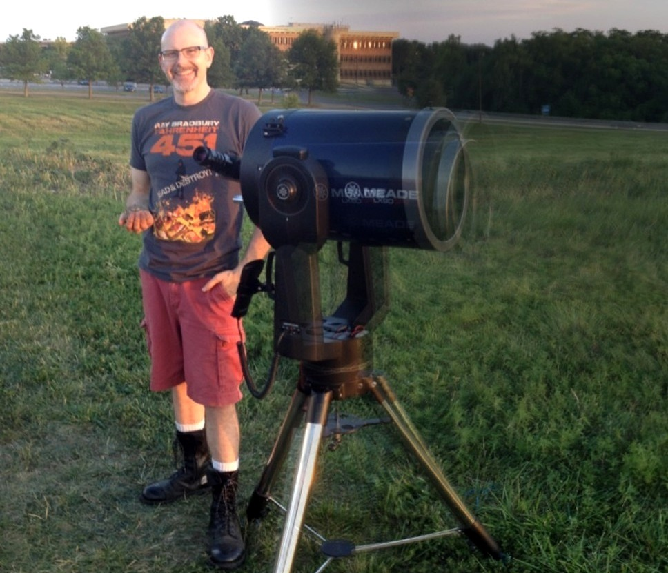 Chris with one of his telescopes in Lawrence, KS